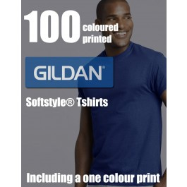 100 Coloured Gildan Softstyle® Adult Printed Tshirts