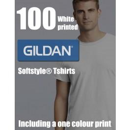 100 White Gildan Softstyle® Adult Printed Tshirts