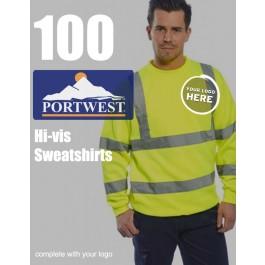 100 Portwest Hi-Vis Sweatshirts