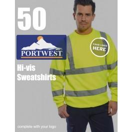 50 Portwest Hi-Vis Sweatshirts
