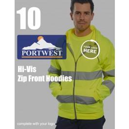 10 Portwest Hi-Vis Zip Front Hoodies