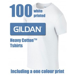 100 White Gildan Heavy Cotton™ Printed T-shirts