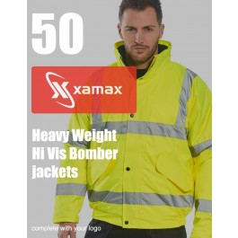 50 Heavy Weight Hi Vis Bomber Jackets & 1 Colour Print