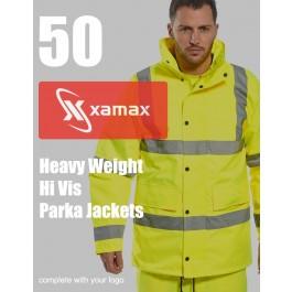 50 Heavy Weight Hi Vis Parkas & 1 Colour Print