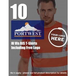 10 Portwest Hi-Vis RIS T-Shirts