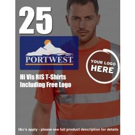 25 Portwest Hi-Vis RIS T-Shirts