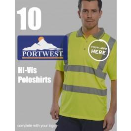 10 Portwest Hi-Vis Polo Shirts
