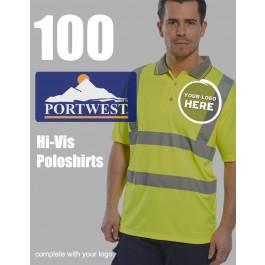 100 Portwest Hi-Vis Polo Shirts