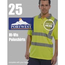25 Portwest Hi-Vis Polo Shirts