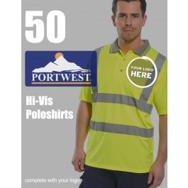 50 Portwest Hi-Vis Polo Shirts