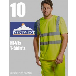 10 Portwest Hi-Vis T-Shirts