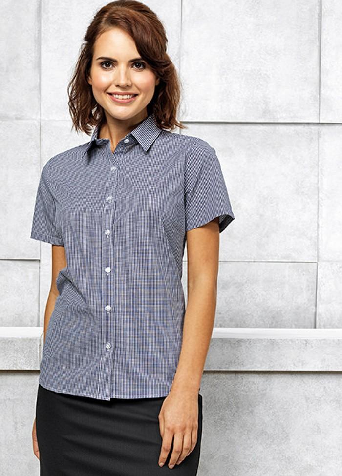 Premier Womens//Ladies Gingham Microcheck Short Sleeve Corporate Shirt