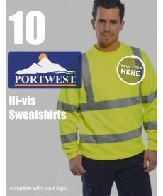 10 Portwest Hi-Vis Sweatshirts
