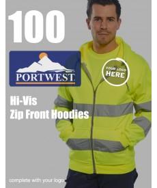 100 Portwest Hi-Vis Zip Front Hoodie