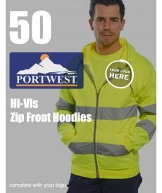 50 Portwest Hi-Vis Zip Front Hoodies