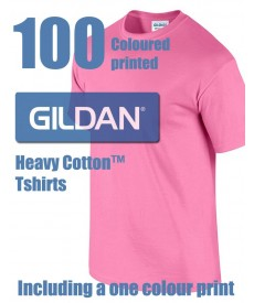 100 Gildan Heavy Cotton Printed Tshirts