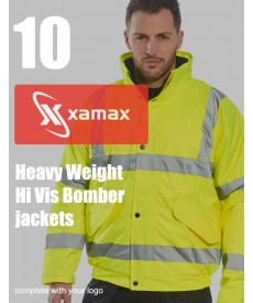 10 Heavy Weight Hi Vis Bomber Jackets & 1 Colour Print