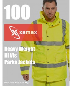 100 Heavy Weight Hi Vis Parkas & 1 Colour Print