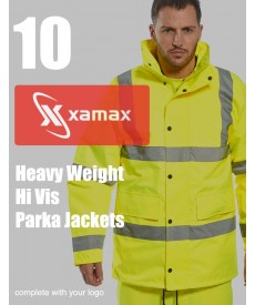 10 Heavy Weight Hi Vis Parkas & 1 Colour Print