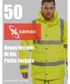 50 Heavy Weight Hi Vis Parka's & 1 Colour Print