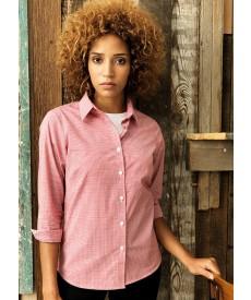 Premier Women's Long Sleeve Microcheck (Gingham) Cotton Shirt