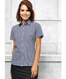 Premier Women's Short Sleeve Microcheck (Gingham) Cotton Shirt