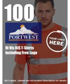 100 Portwest Hi-Vis RIS T-Shirts