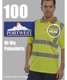 100 Portwest Hi-Vis Polo Shirts