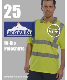 25 Portwest Hi-Vis Polo Shirts