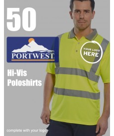 50 Portwest Hi-Vis Polo Shirts