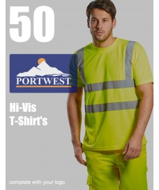 50 Portwest Hi-Vis T-Shirts