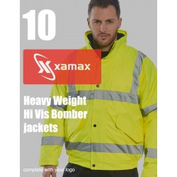 Photo of a 10 Heavy Weight Hi Vis Bomber Jackets & 1 Colour Print