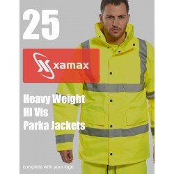 25 Heavy Weight Hi Vis Parkas & 1 Colour Print