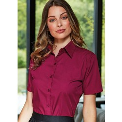 Image of Premier Ladies Short Sleeve Poplin Blouse