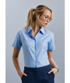 Russell Collection Ladies Short Sleeve Oxford Shirt