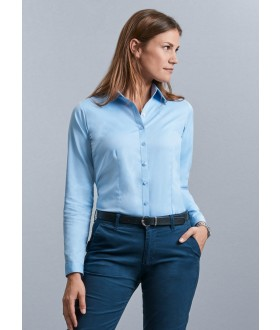 Russell Collection Ladies Long Sleeve Herringbone Shirt