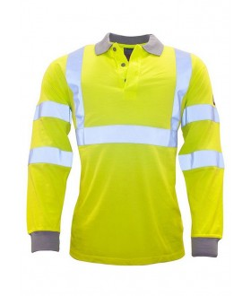 Portwest Flame Resistant Anti-Static Hi-Vis Long Sleeve Polo Shirt