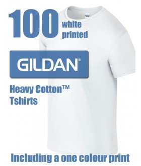 100 White Gildan Heavy Cotton Printed Tshirts
