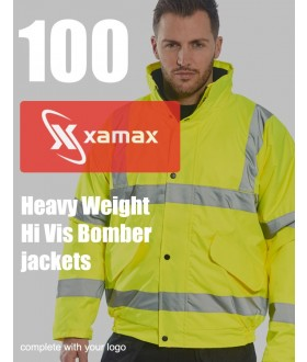 100 Heavy Weight Hi Vis Bomber Jackets & 1 Colour Print