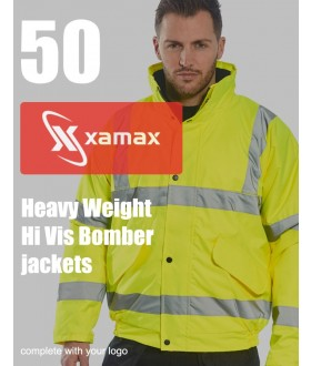 50 Heavy Weight Hi Vis Bombers & 1 Colour Print