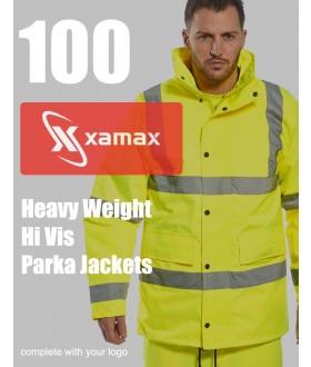 100 Heavy Weight Hi Vis Parkas & 1 Colour Print
