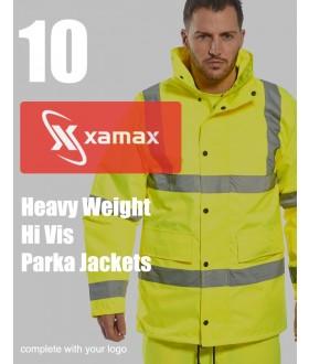 10 Heavy Weight Hi Vis Parkas & 1 Colour Print