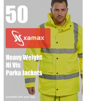 50 Heavy Weight Hi Vis Parkas & 1 Colour Print