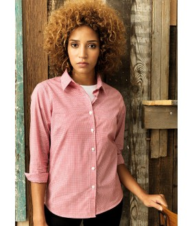 Premier Women's Long Sleeve Microcheck (Gingham) Cotton Shirt