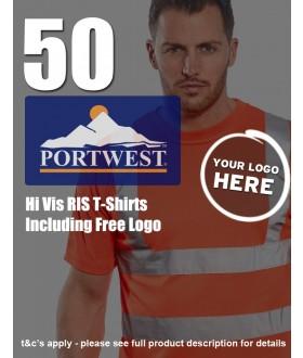 50 Portwest Hi-Vis RIS T-Shirts