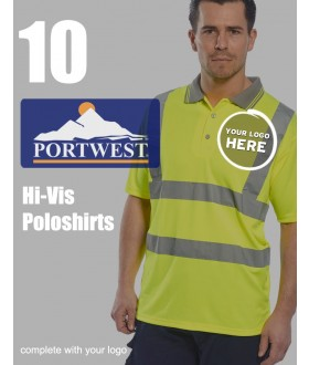 10 Portwest Hi-Vis Polo Shirts