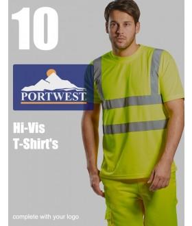 10 Portwest Hi-Vis T-Shirts