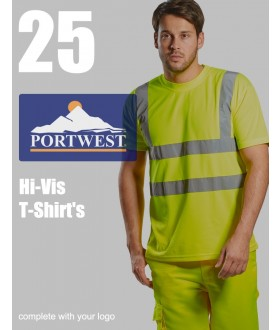 25 Portwest Hi-Vis T-Shirts