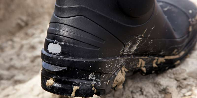 Safety Rated Wellington Boot in Mud