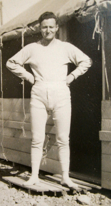 Old Photo of Man wearing Long Johns